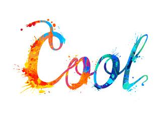Cool. Hand written word of splash paint