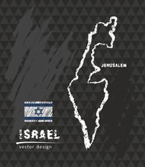 Map of Israel, Chalk sketch vector illustration