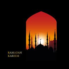 Ramadan Kareem islamic greeting design line mosque dome with arabic pattern