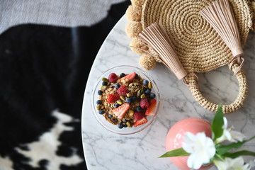 Granola cereal with berries
