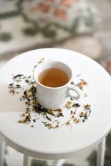 Chamomile tea on table