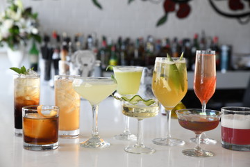 Cocktails on bar counter