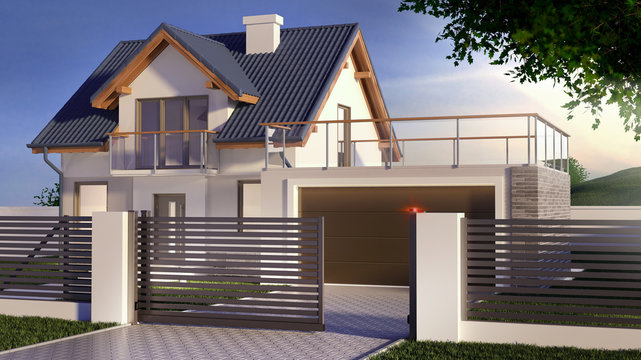 Sliding gate and house