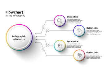Colorful 4 Step Infographics With Modern Gradient Circles