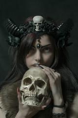 Cute faun with skull
