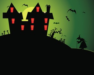 Halloween haunted house with green sky