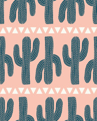 vector cactus stripe and triangles pink seamless repeat pattern background