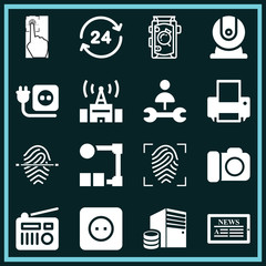 Set of 16 technology filled icons