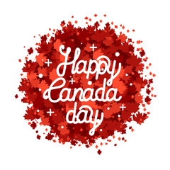 Happy Canada Day hand drawn lettering. Maple leaves texture.