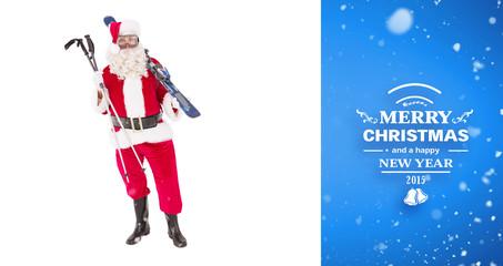 Santa claus holding ski and ski poles against blue vignette