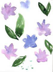 Watercolor flowers. Flat style. Design elements to create summer, spring backgrounds. Watercolor illustration on white background