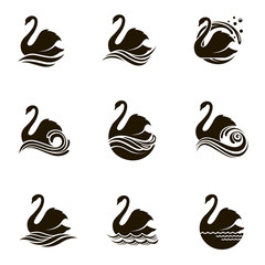 black collection of icons with swans and waves