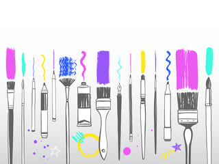 Creative art tools frame, border, background. Various type of brushes, pen, marker, stylus, oil or acrylic tube with paint strokes and splash, blob, blot, doodle, wavy line. Artist equipment set.