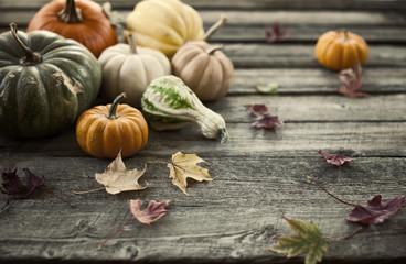 Maple Leaves and Pumpkins on Wood