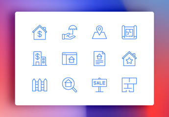 Real Estate Minimalist Icons