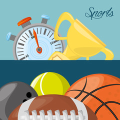 chronometer, trophy and differents balls to sport game , vector illustration