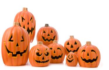 Halloween jack o lantern pumpkin arrangement isolated