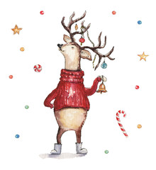 Watercolor Christmas illustration with deer in sweater and decorations