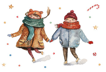 Watercolor Christmas illustration with kids holding hands