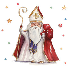 Watercolor Christmas illustration with St Nicholas