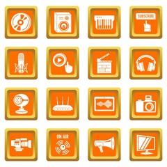 Multimedia internet icons set vector orange square isolated on white background