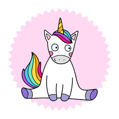 Lovely vector illustration of the funny unicorn. Cute magic animal mascot. Bright rainbow colors.