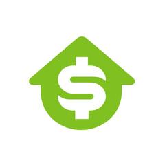 House symbol with dollar money symbol, vector icon or logo design
