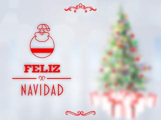 Feliz navidad banner against blurry christmas tree in room