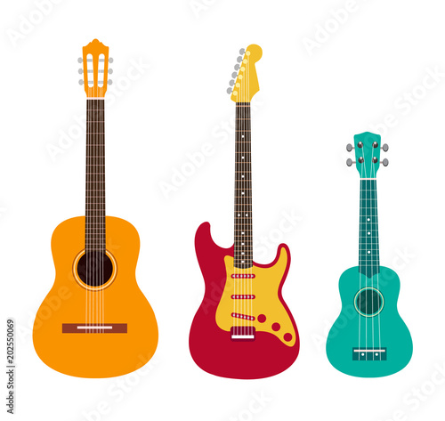 Guitar Set Acoustic Guitar Electric Guitar And Ukulele On White