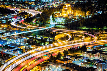Aerial view of the I5 and I90 interchange in Seattle.