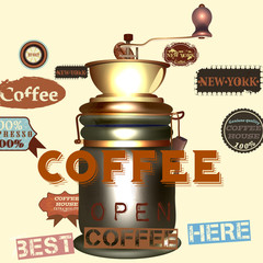 Coffee vector poster with coffee mill and labels