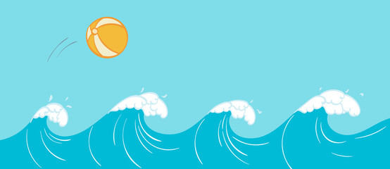 Summer Ocean Waves with a Beach Ball
