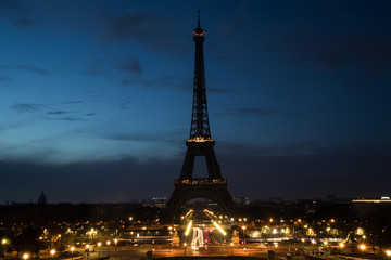Acrylic Prints Eiffel Tower Pre Dawn early morning at the Eiffel Tower in Paris, France