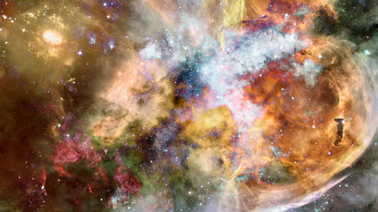 Colorful starry night sky. Outer space. Elements of this image furnished by NASA