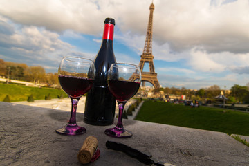French Wine at they Eiffel Tower in Paris, France