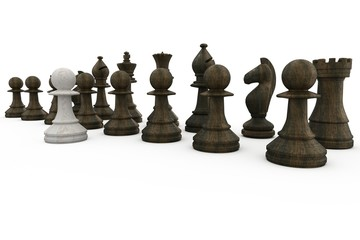 White pawn standing with black pieces