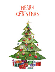 Watercolor Christmas illustration with Christmas tree and presents. Christmas cards. Winter design. Merry Christmas!