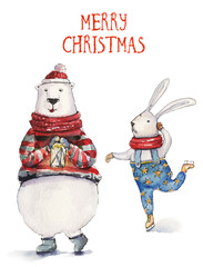 Watercolor Christmas illustration with skiing hare and colorful bear. Christmas cards. Winter design. Merry Christmas!