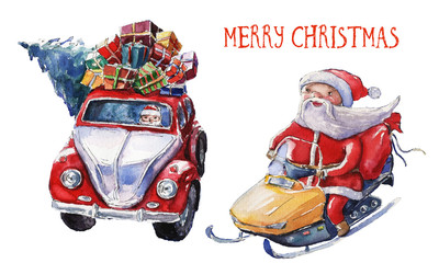 Watercolor Christmas illustration with Santa Claus on snowmobile and Santa car. Christmas cards. Winter design. Merry Christmas!