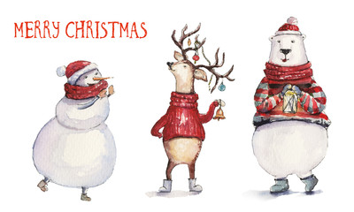 Watercolor Christmas illustration with snowman, holiday deer and colorful bear. Christmas cards. Winter design. Merry Christmas!