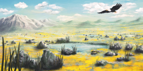 Freedom, wide environment scenery with a flying eagle - Digital Painting - Illustration