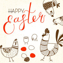 Funny chickens and rooster, eggs. Greeting card with Happy Easter writing. Vector illustration