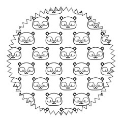 decorative circular frame with cute raccoons over white background, vector illustration