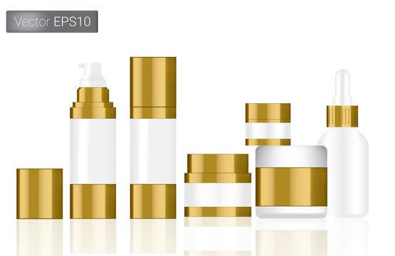 Mock up Realistic White and Gold Vector Bottles Set Background Illustration. Packaging Concept.