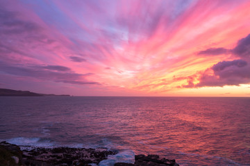 Colorful sunrise over the ocean