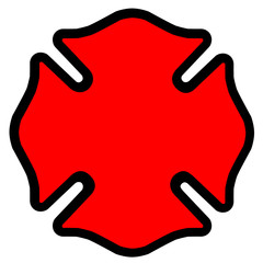 Firefighter Emblem Symbol Shape in Red with Black Outline