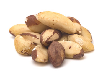Whole Brazil Nuts on a White Background