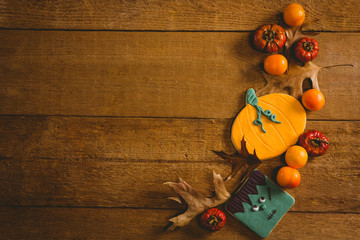 Overhead view of food with autumn leaves on table