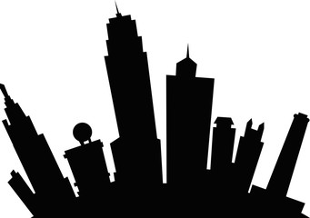 Cartoon skyline silhouette of the city of Kansas City, Kansas, USA.