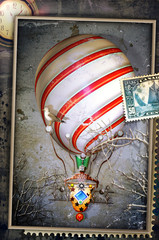 Vintage postcard, stamp and collage with hot air balloon